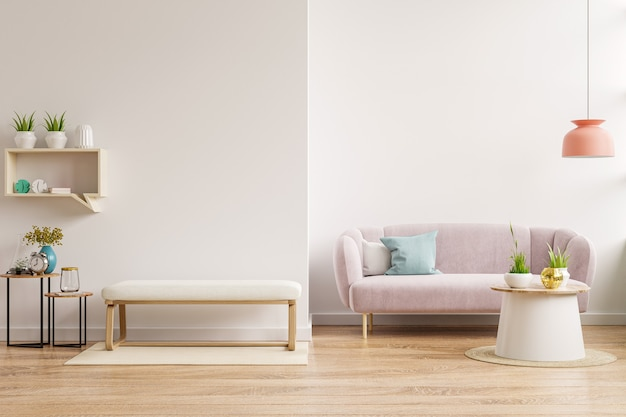 Interior wall mockup with sofa and cabinet in living room with empty white wall background.3d rendering
