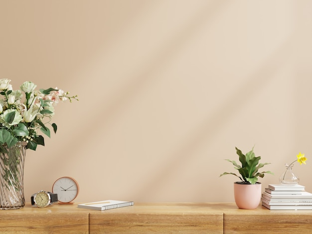 Interior wall with flower vase,dark brown wall and wooden shelf.3d rendering