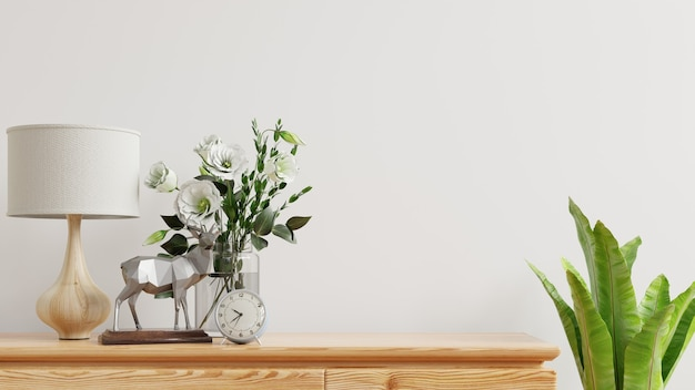 Interior wall with flower vase,white wall and wooden shelf.3d rendering