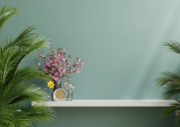 緑の植物と装飾が施された内壁、薄緑の壁と棚。3dレンダリング