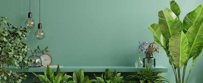 Interior wall with green plant and shelf. 3d rendering