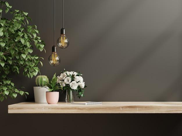 녹색 식물을 가진 실내 벽