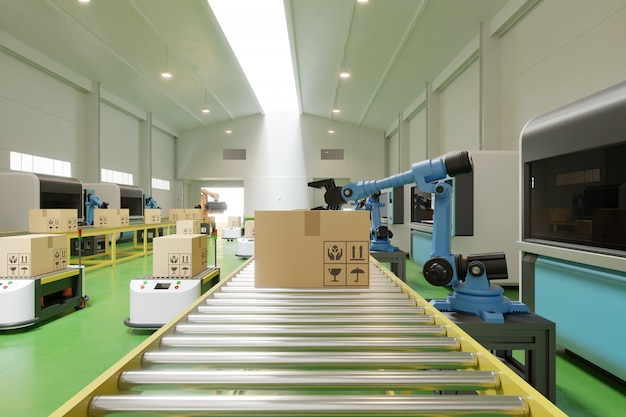 Interior of warehouse in logistic center have agv/robot arm.