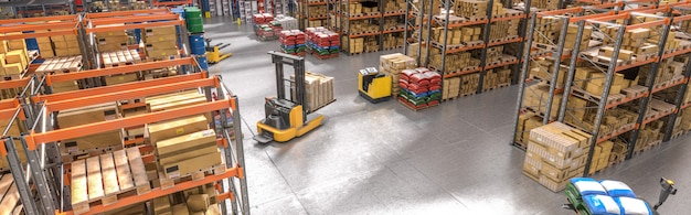 Interior of a warehouse with shelves and goods