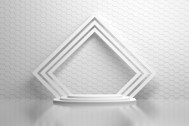 Interior of white room with hexagon wall pattern, pedestal and rotated square frames