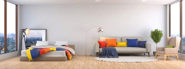 Интерьер с диваном и кроватью
