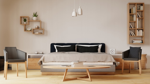 Interior with bed in bedroom with white wall. 3d rendering.