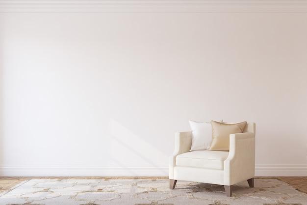 흰색 벽 근처 베이지 색 안락의 자 인테리어입니다. 인테리어 모형. 3d 렌더링.
