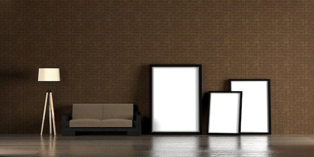 Interior with blank picture frames 3d rendering - illustration