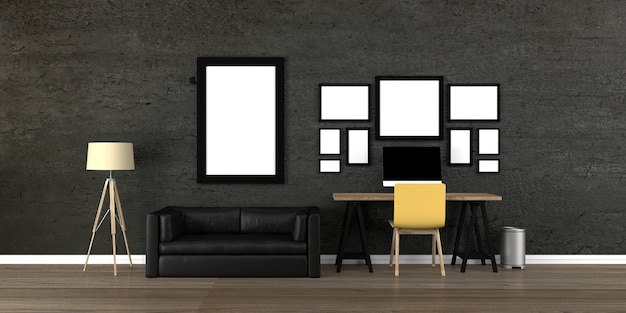 Interior with blank picture frames 3d rendering.