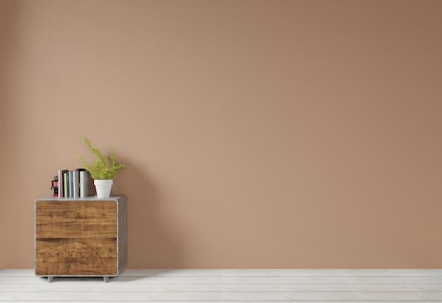 Interior with brown wall and wood side table sideboard empty background for copy space ,3d rendering