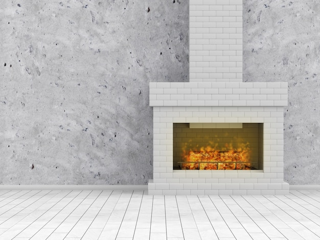 Interior with burning fireplace