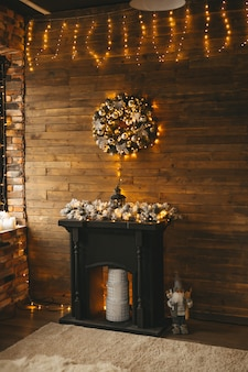 Interior with christmas decoration in a golden black style