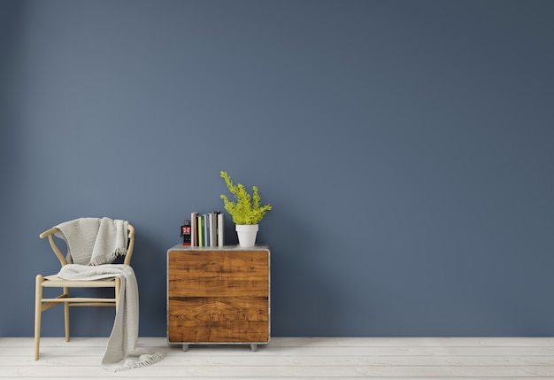 Interior with dark blue green wall wooden chair and wood side table sideboard empty wall for copy space