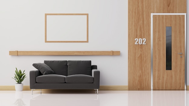 Interior with dark sofa, rendering.