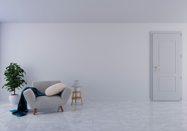 Interior with gray velvet armchair in living room with white wall