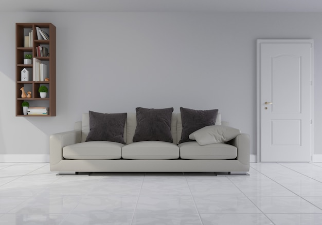 Interior with gray velvet sofa in living room with white wall