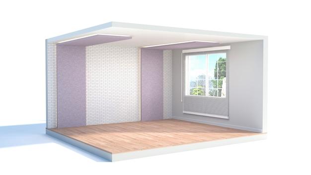 Interior with large window. empty interior