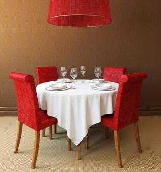 Интерьер с круглым столом и четырьмя красными стульями