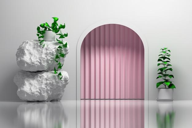 Интерьер с закругленным входом и розовой занавеской