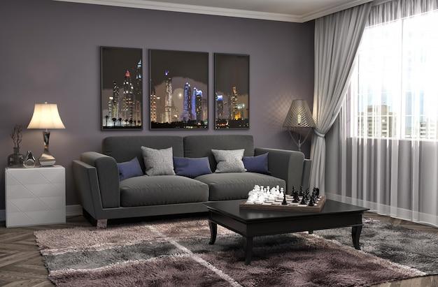 Interior with sofa. 3d illustrationi