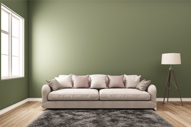 Интерьер с диваном и зеленой стеной