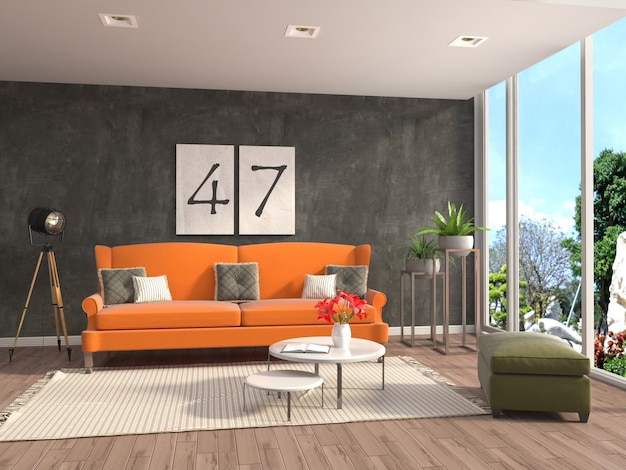 Interior with sofa rendered illustration