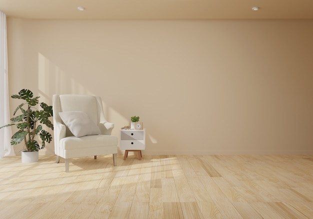 Interior with velvet armchair in living room with white wall