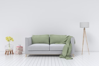 Interior with velvet sofa and lamp on empty white wall background. 3D rendering