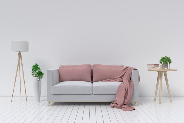 Interior with velvet sofa and lamp on empty white wall background