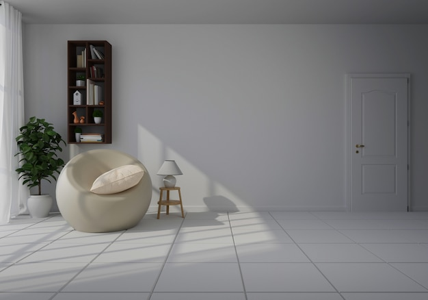 Interior with white chair in living room with white wall