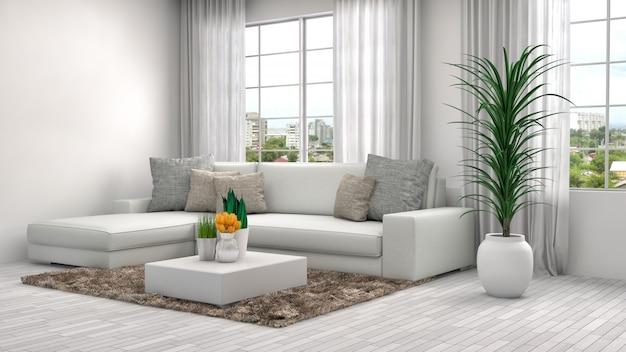 Интерьер с белым диваном.
