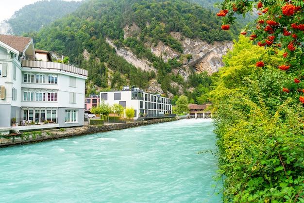 Interlaken town with thunersee river, switzerland