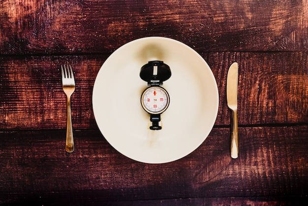 Intermittent fasting diet to lose weight with an empty plate.