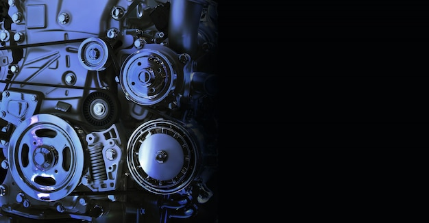 Internal design of car engine in blue tone on black background free space on right side for text.