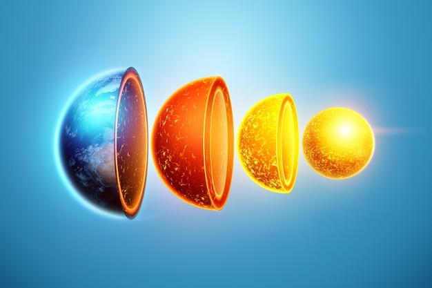 지구의 내부 구조, 핵심 구조, 파란색 배경에 지질 층. 지구 지질학 개념, 마그마.