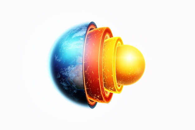 지구의 내부 구조, 핵심 구조, 흰색 배경에 지질 층이 분리됩니다. 지구 지질학 개념, 마그마.