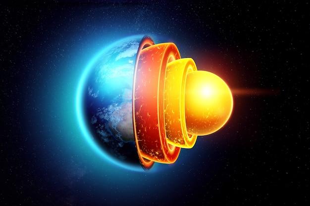 지구의 내부 구조, 핵심 구조, 어두운 배경의 지질 층. 지구, 마그마, 암석권 이동의 개념 지질학.
