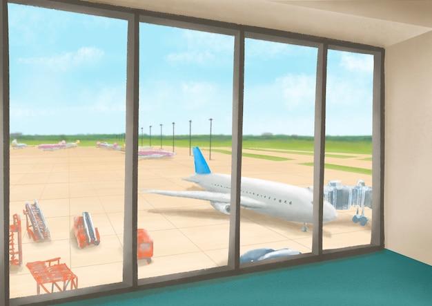 비행기와 창에서 푸른 하늘을 볼 수 있는 비행장의 국제 공항 터미널 풍경