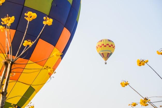 Международный воздушный шар fiesta в парке singha, chiangrai, таиланд
