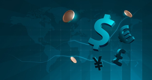 International business finance currency coins for global financial exchange dollar, euro, pound, yen on stock market background with digital cash. 3d rendering.