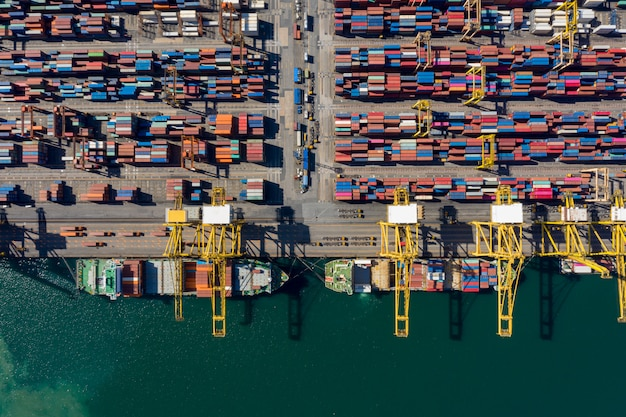 International cargo  container shipping port business aerial view