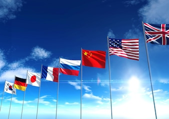 International country flags, 3D rendering