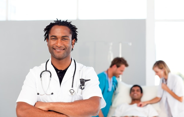International doctors attending to a patient