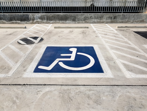 International handicapped (wheelchair) or disabled parking symbol