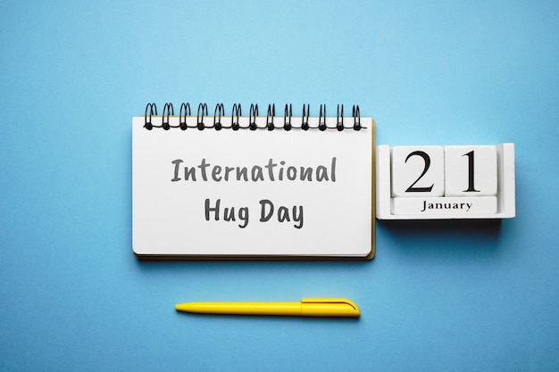 International hug day of winter month calendar january.
