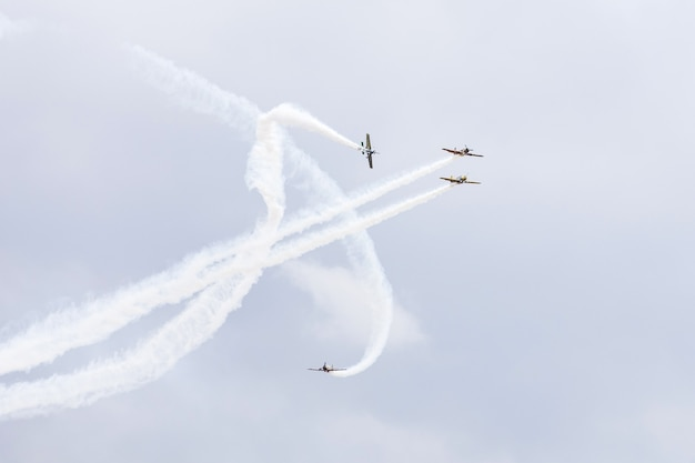 International moldavian airport air show on the occasion of national day of civil aviation.