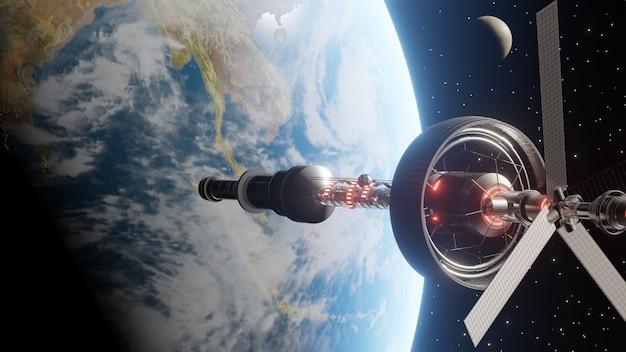 International scientific space station orbiting around planet earth