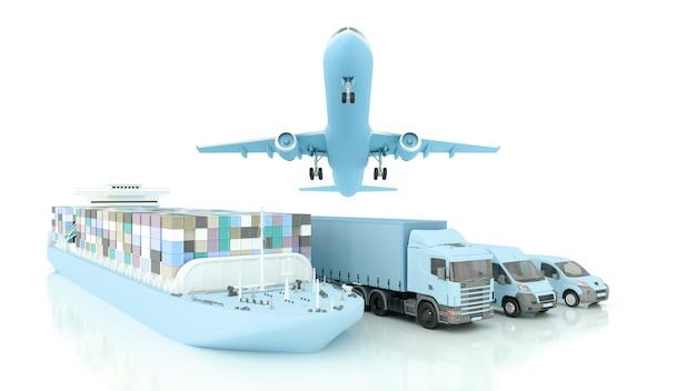 국제 배송 및 상품 배송, 3d 일러스트