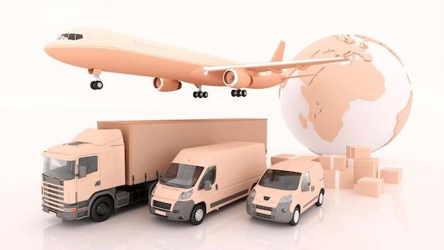 Международная доставка и доставка товаров, 3d иллюстрации